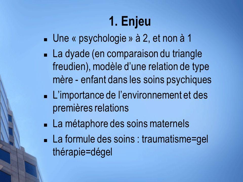 1. Enjeu Une « psychologie » à 2, et non à 1