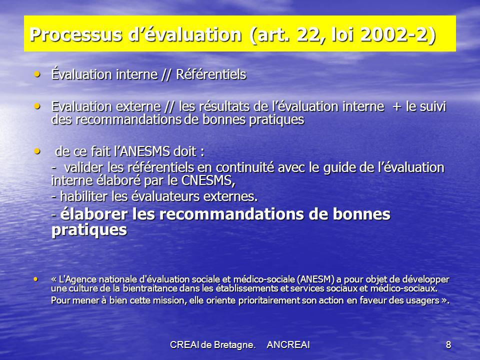Processus d'évaluation (art. 22, loi 2002-2)