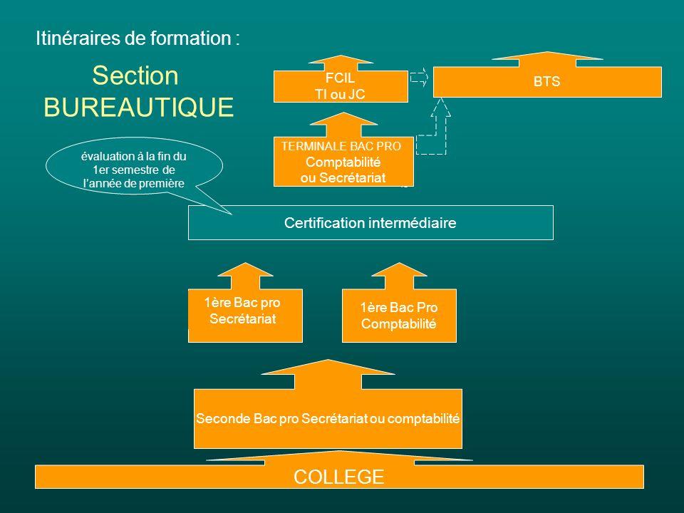 Section BUREAUTIQUE Itinéraires de formation : COLLEGE