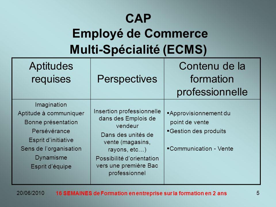 CAP Employé de Commerce Multi-Spécialité (ECMS)