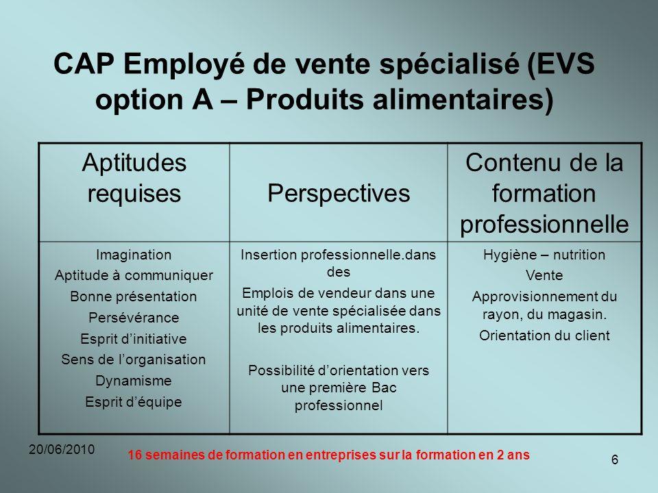 CAP Employé de vente spécialisé (EVS option A – Produits alimentaires)