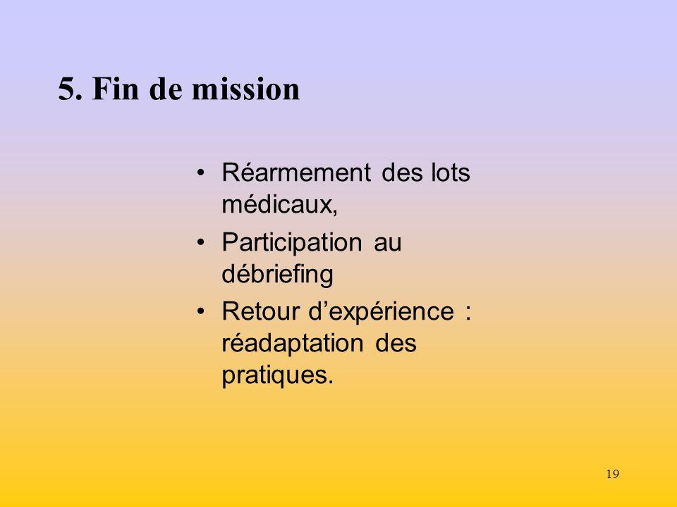 5. Fin de mission Réarmement des lots médicaux,