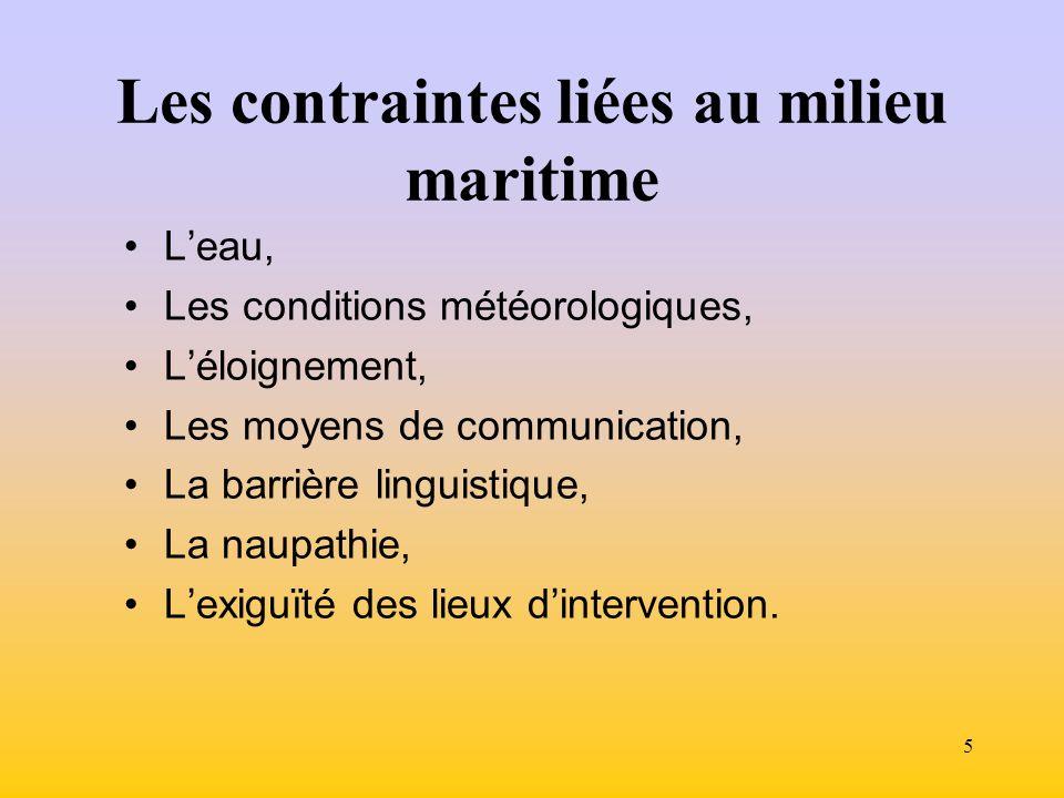 Les contraintes liées au milieu maritime