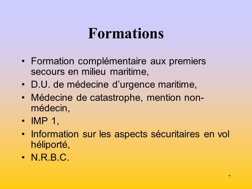 Formations Formation complémentaire aux premiers secours en milieu maritime, D.U. de médecine d'urgence maritime,