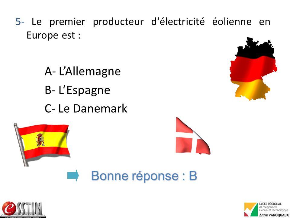 A- L'Allemagne B- L'Espagne C- Le Danemark Bonne réponse : B