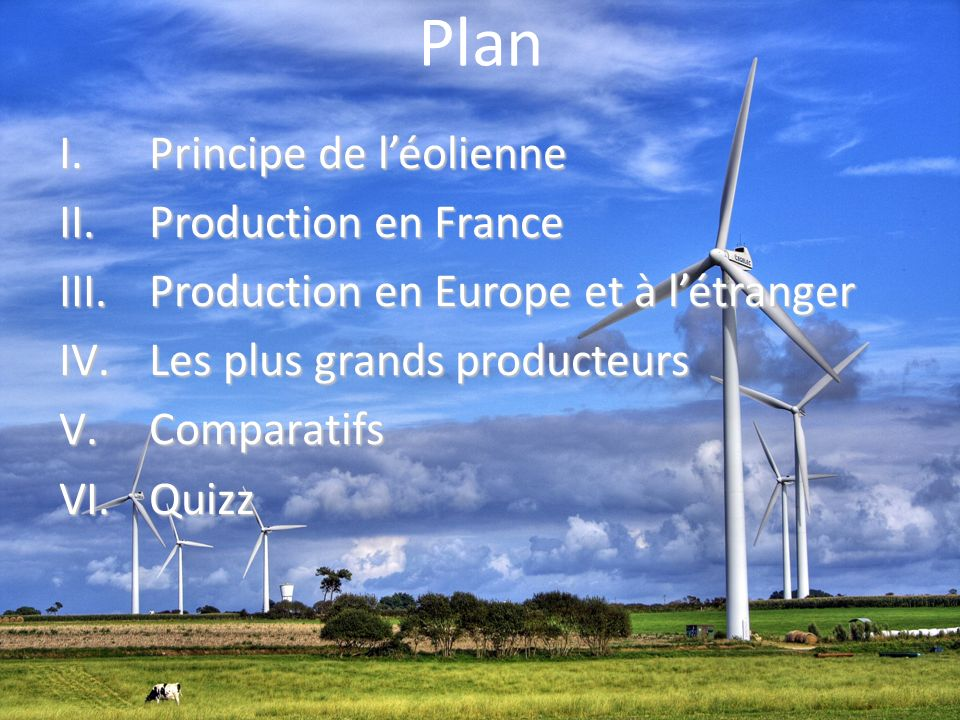 Plan Principe de l'éolienne Production en France