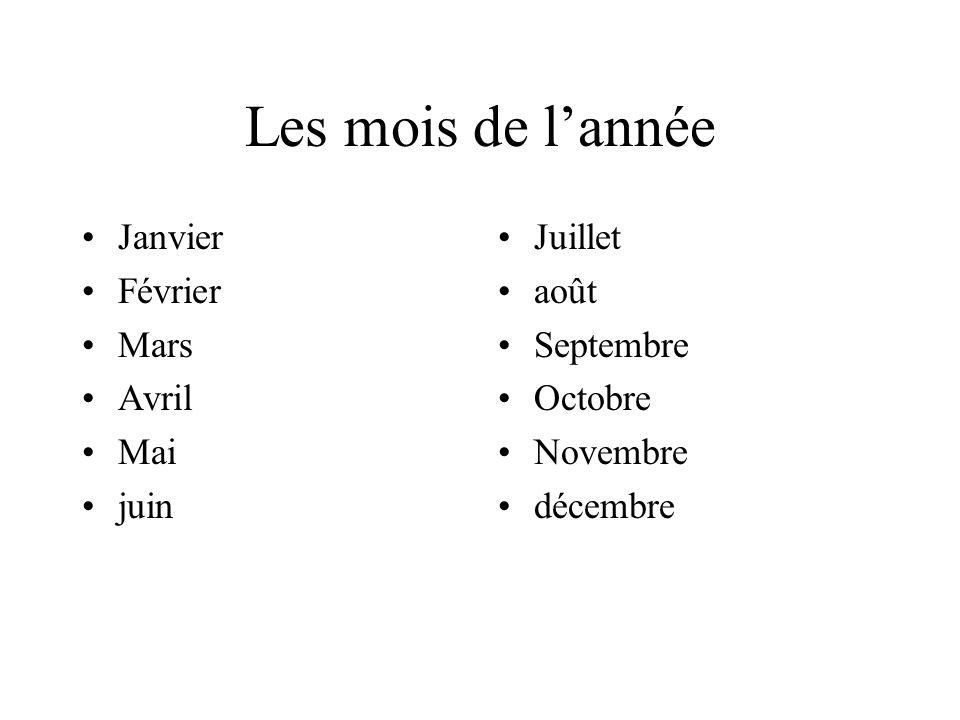 Les mois de l'année Janvier Février Mars Avril Mai juin Juillet août