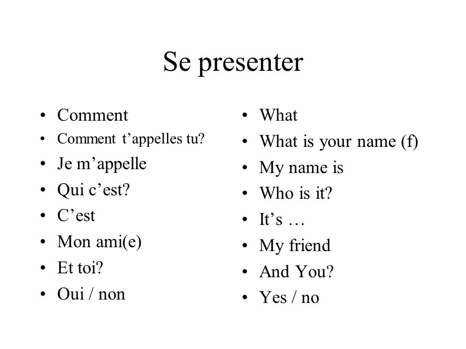 Se presenter Comment Je m'appelle Qui c'est C'est Mon ami(e) Et toi