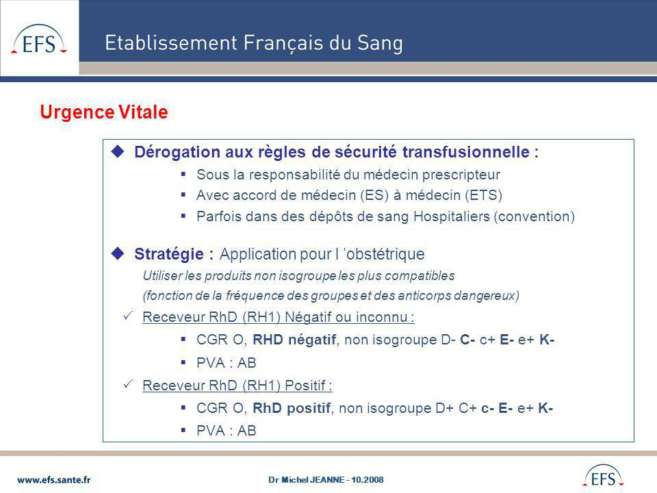 Urgence Vitale Dérogation aux règles de sécurité transfusionnelle :