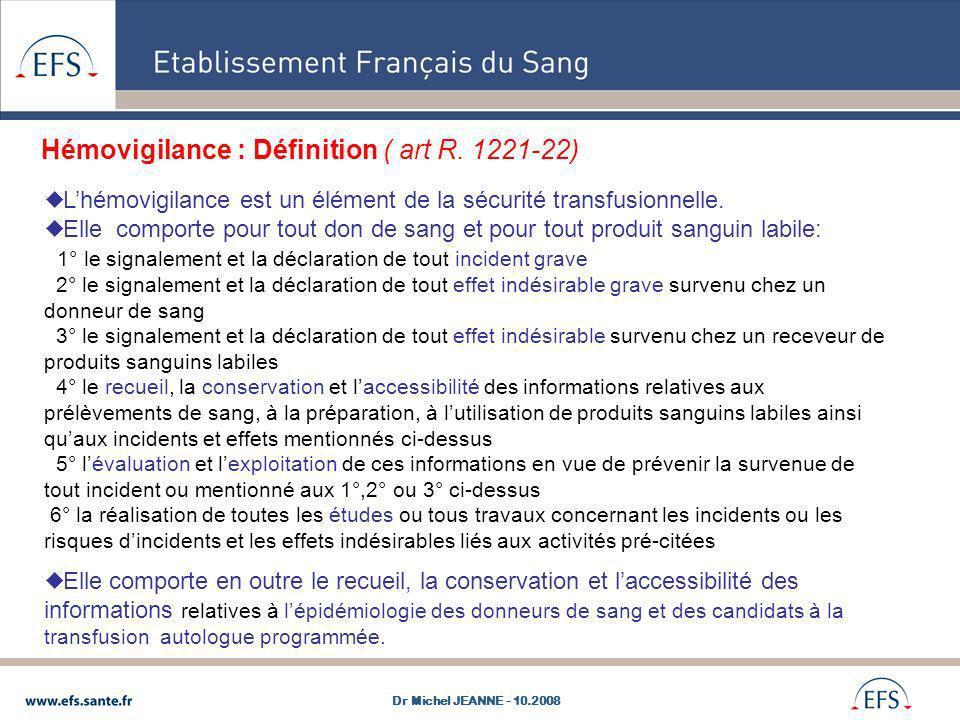 Hémovigilance : Définition ( art R. 1221-22)