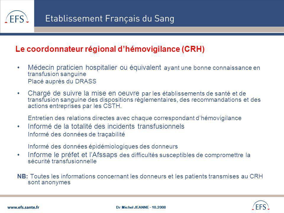 Le coordonnateur régional d'hémovigilance (CRH)