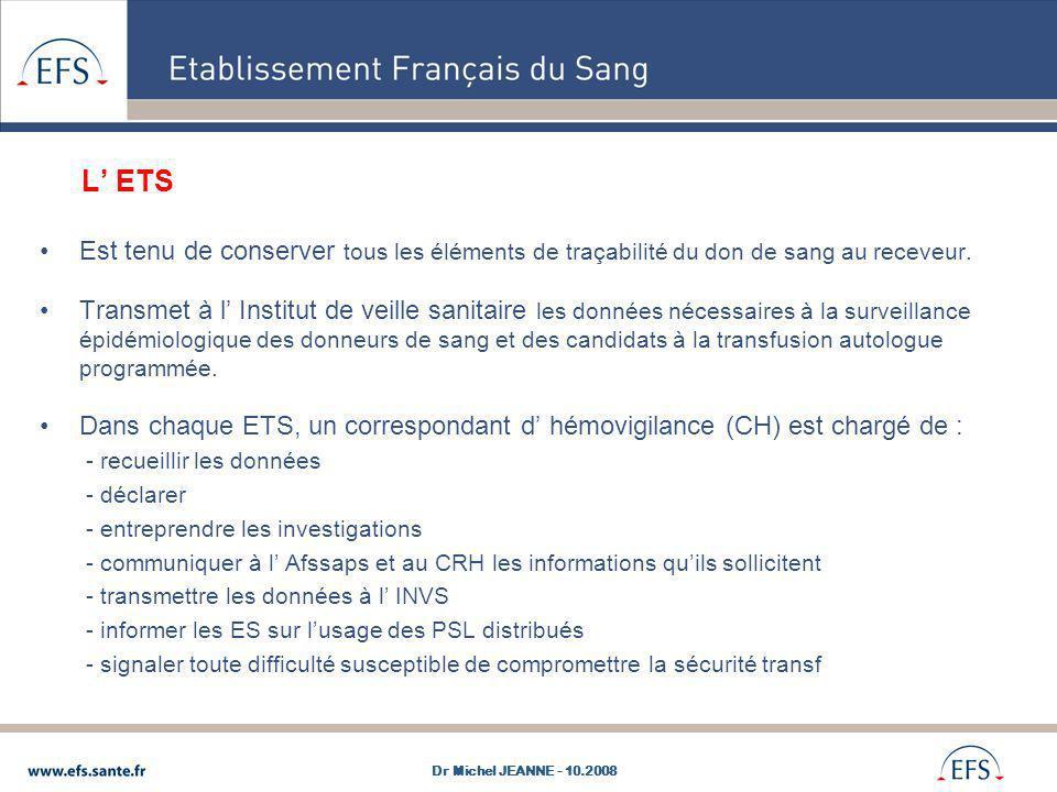 L' ETS Est tenu de conserver tous les éléments de traçabilité du don de sang au receveur.
