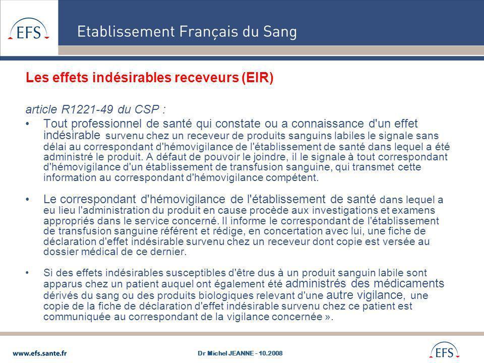 Les effets indésirables receveurs (EIR)