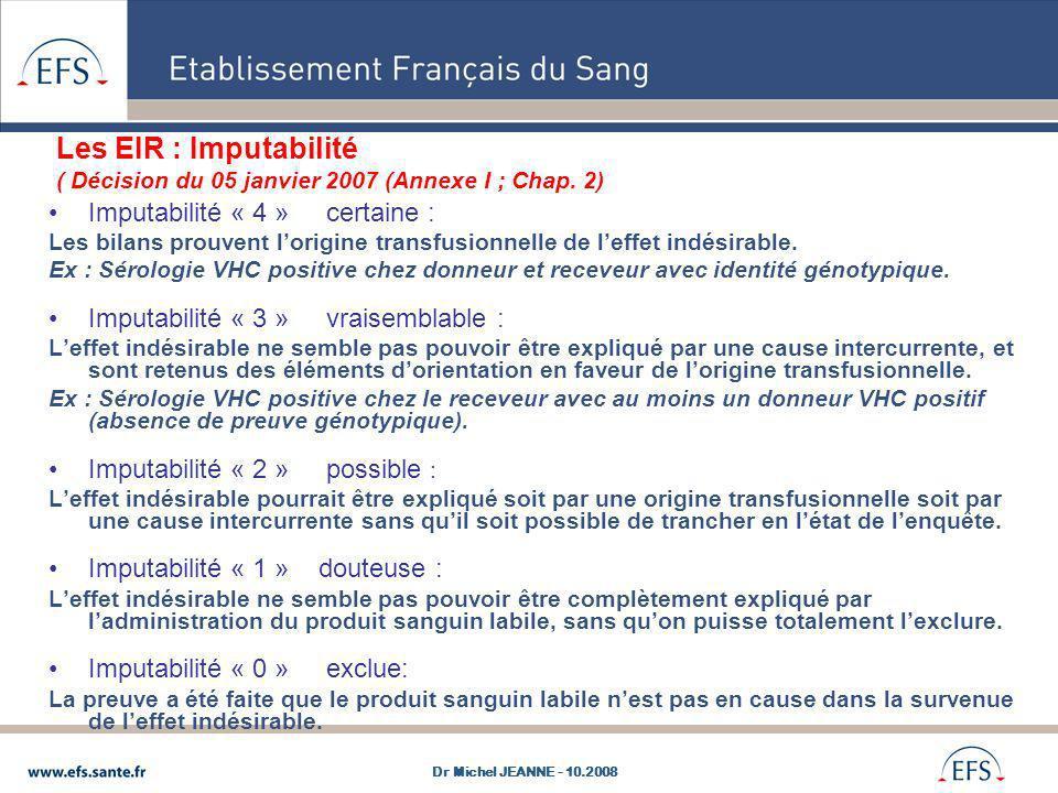 Les EIR : Imputabilité ( Décision du 05 janvier 2007 (Annexe I ; Chap