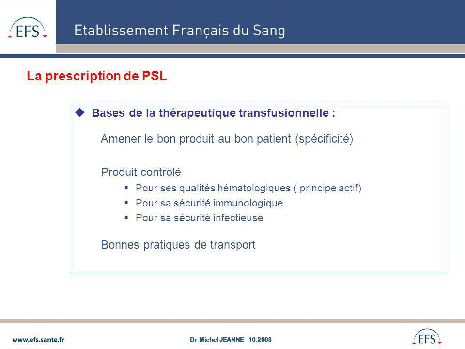 La prescription de PSL Bases de la thérapeutique transfusionnelle :