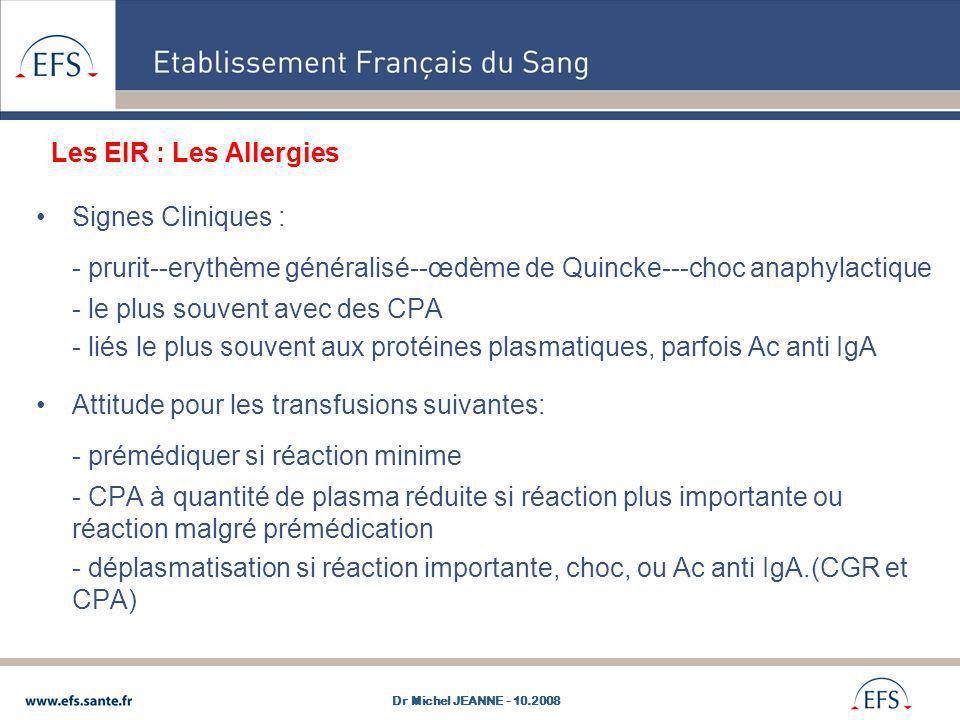 - prurit--erythème généralisé--œdème de Quincke---choc anaphylactique