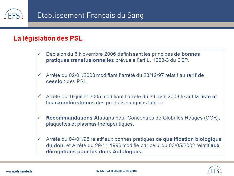 La législation des PSL Décision du 6 Novembre 2006 définissant les principes de bonnes pratiques transfusionnelles prévus à l'art L. 1223-3 du CSP.