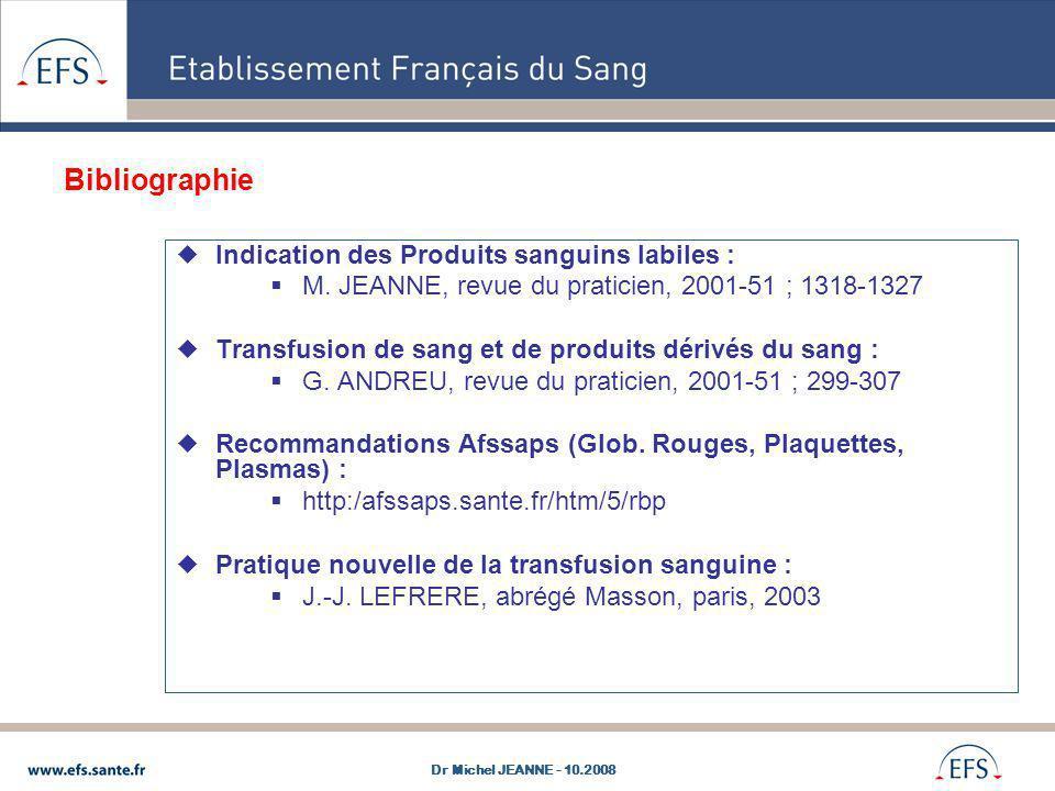 Bibliographie Indication des Produits sanguins labiles :