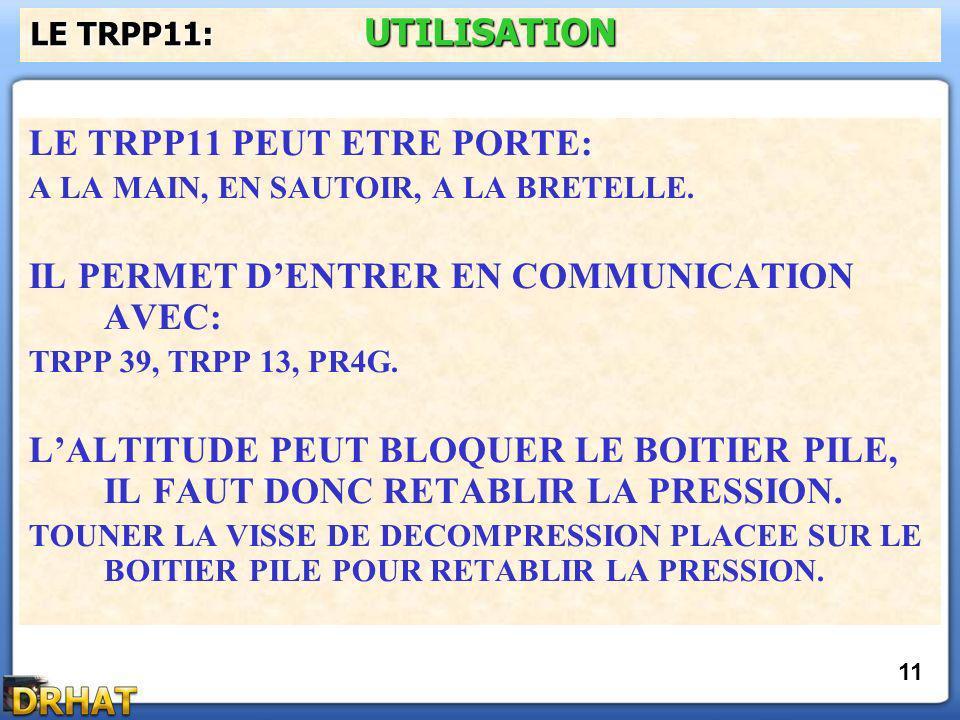 LE TRPP11 PEUT ETRE PORTE: