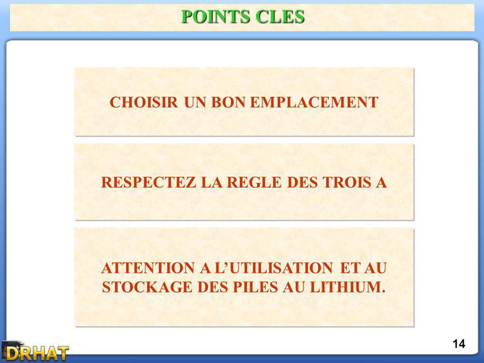 POINTS CLES CHOISIR UN BON EMPLACEMENT RESPECTEZ LA REGLE DES TROIS A