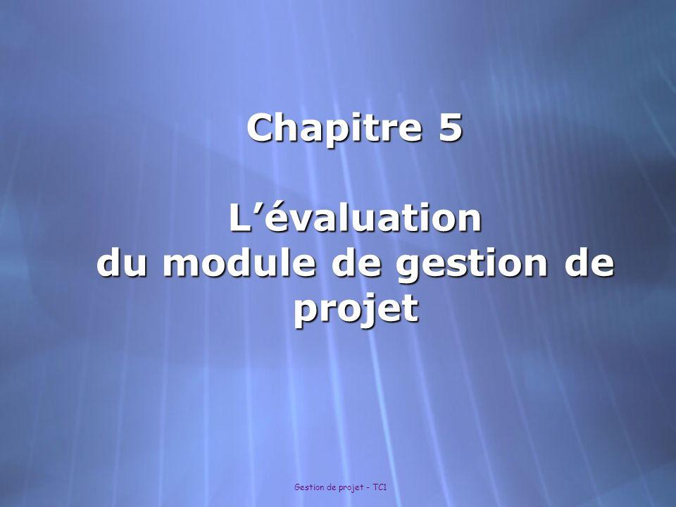 Chapitre 5 L'évaluation du module de gestion de projet