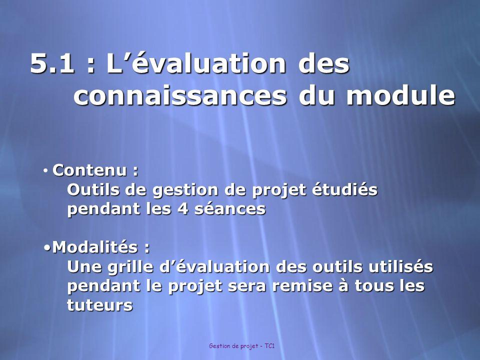 5.1 : L'évaluation des connaissances du module