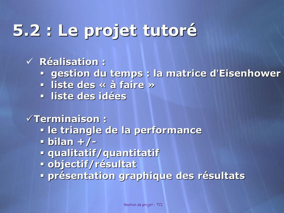 5.2 : Le projet tutoré Réalisation :