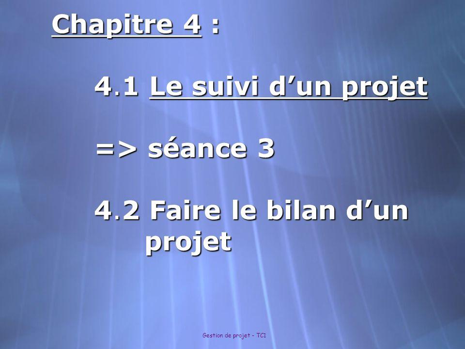 Chapitre 4 : 4. 1 Le suivi d'un projet => séance 3 4