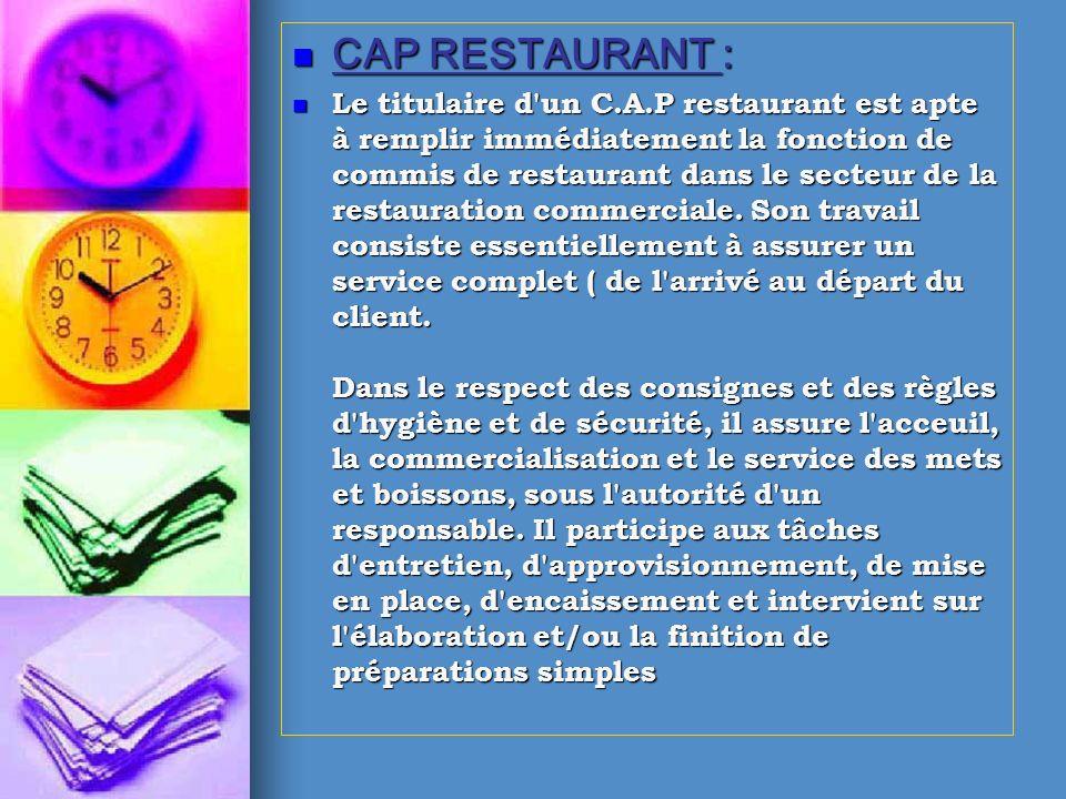 CAP RESTAURANT :