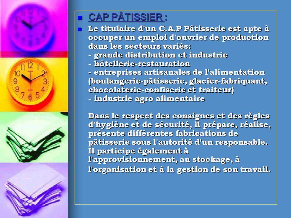 CAP PÂTISSIER :