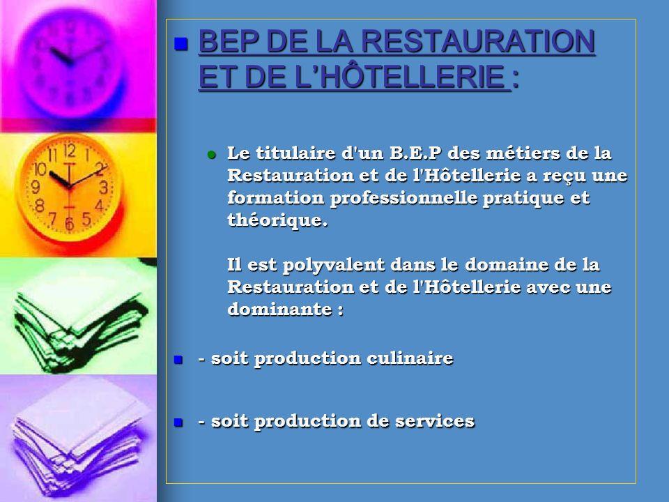 BEP DE LA RESTAURATION ET DE L'HÔTELLERIE :
