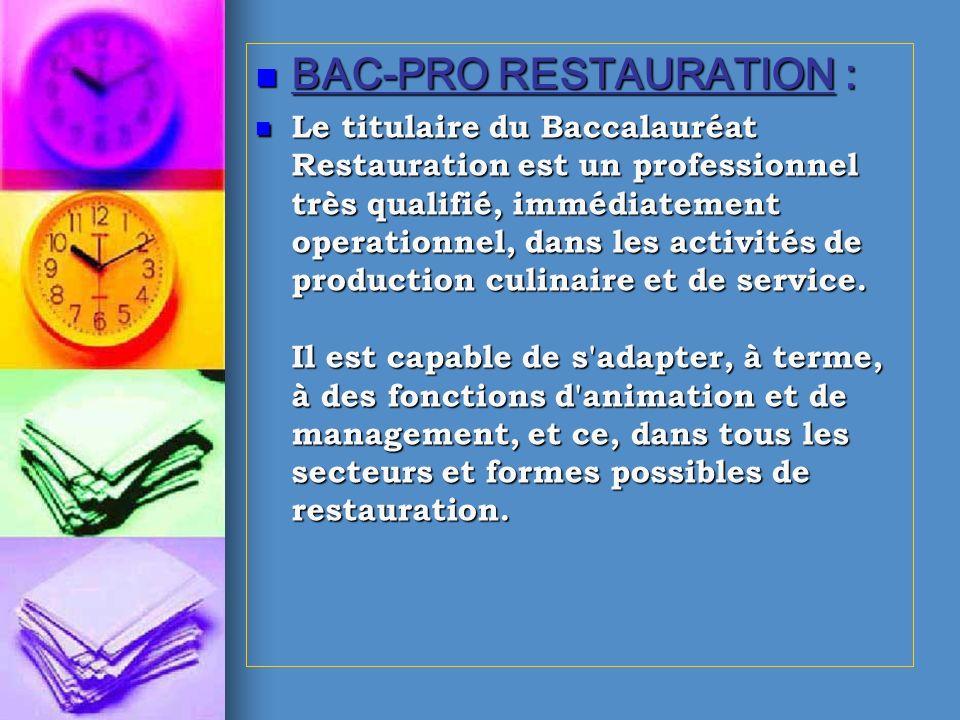 BAC-PRO RESTAURATION :