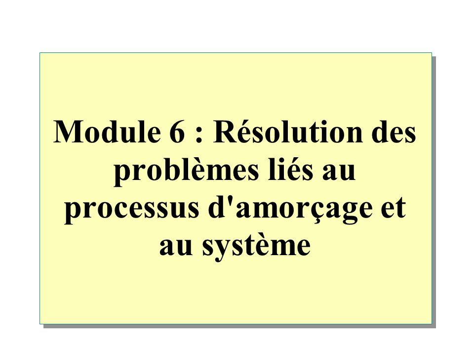 Module 6 : Résolution des problèmes liés au processus d amorçage et au système