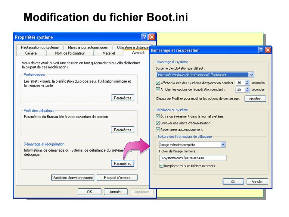 Modification du fichier Boot.ini