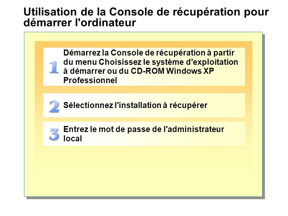 Utilisation de la Console de récupération pour démarrer l ordinateur