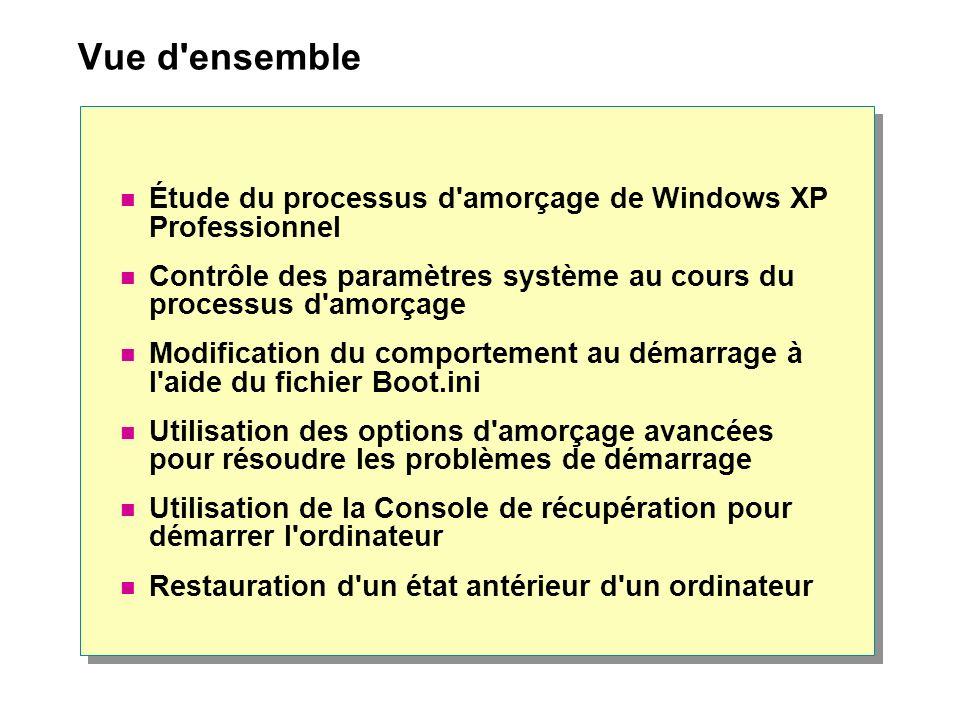 Vue d ensemble Étude du processus d amorçage de Windows XP Professionnel. Contrôle des paramètres système au cours du processus d amorçage.