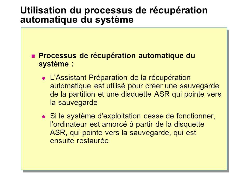 Utilisation du processus de récupération automatique du système