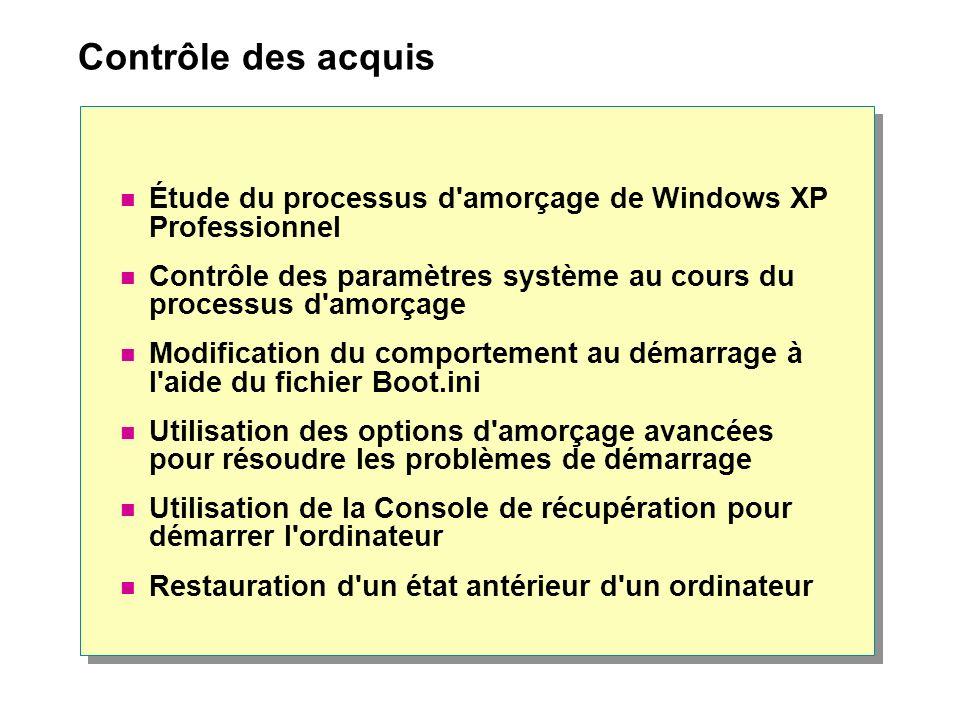 Contrôle des acquis Étude du processus d amorçage de Windows XP Professionnel. Contrôle des paramètres système au cours du processus d amorçage.