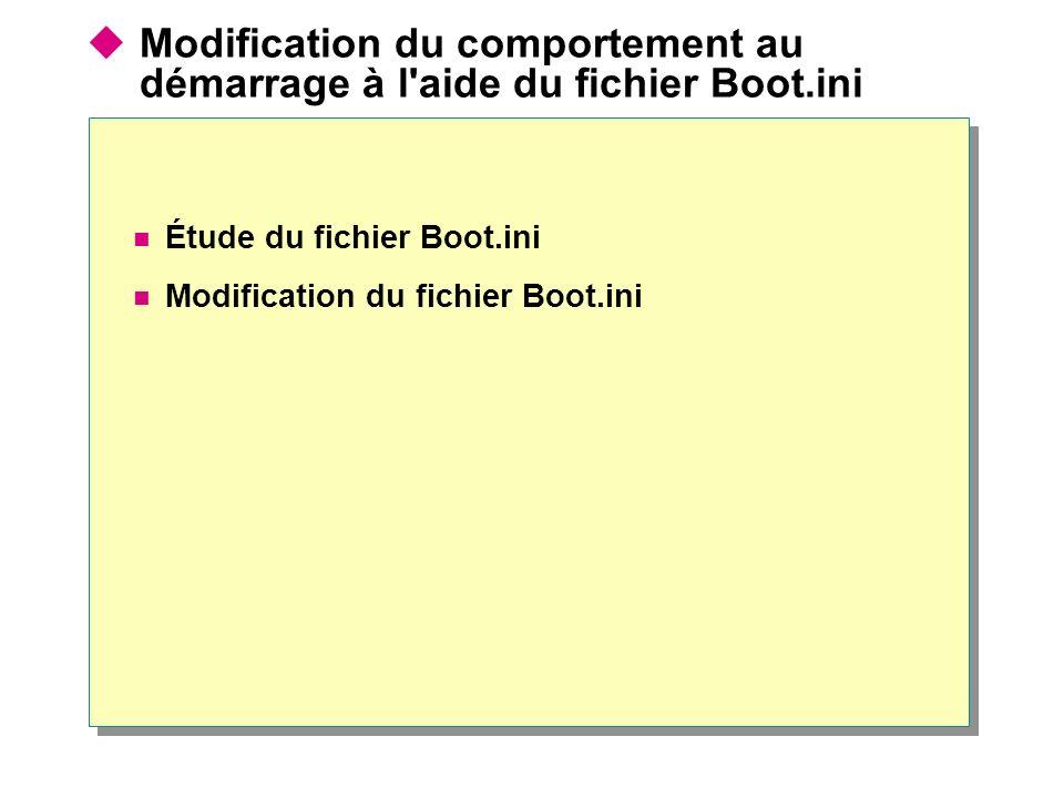 Modification du comportement au démarrage à l aide du fichier Boot.ini