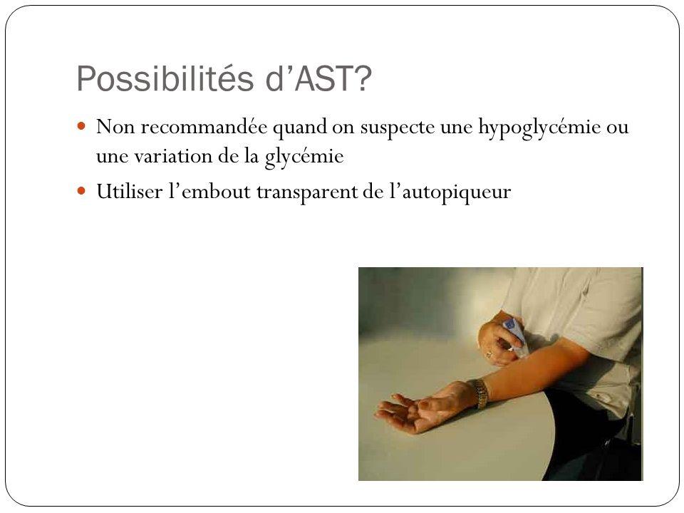 Possibilités d'AST Non recommandée quand on suspecte une hypoglycémie ou une variation de la glycémie.