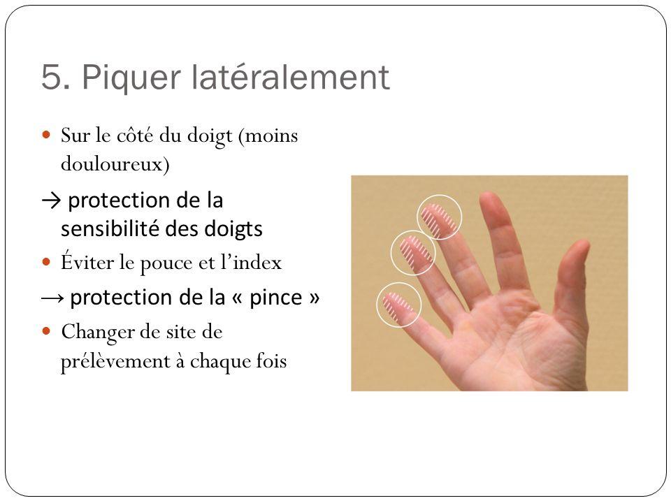 5. Piquer latéralement Sur le côté du doigt (moins douloureux)