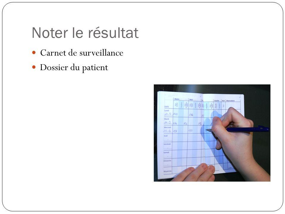 Noter le résultat Carnet de surveillance Dossier du patient