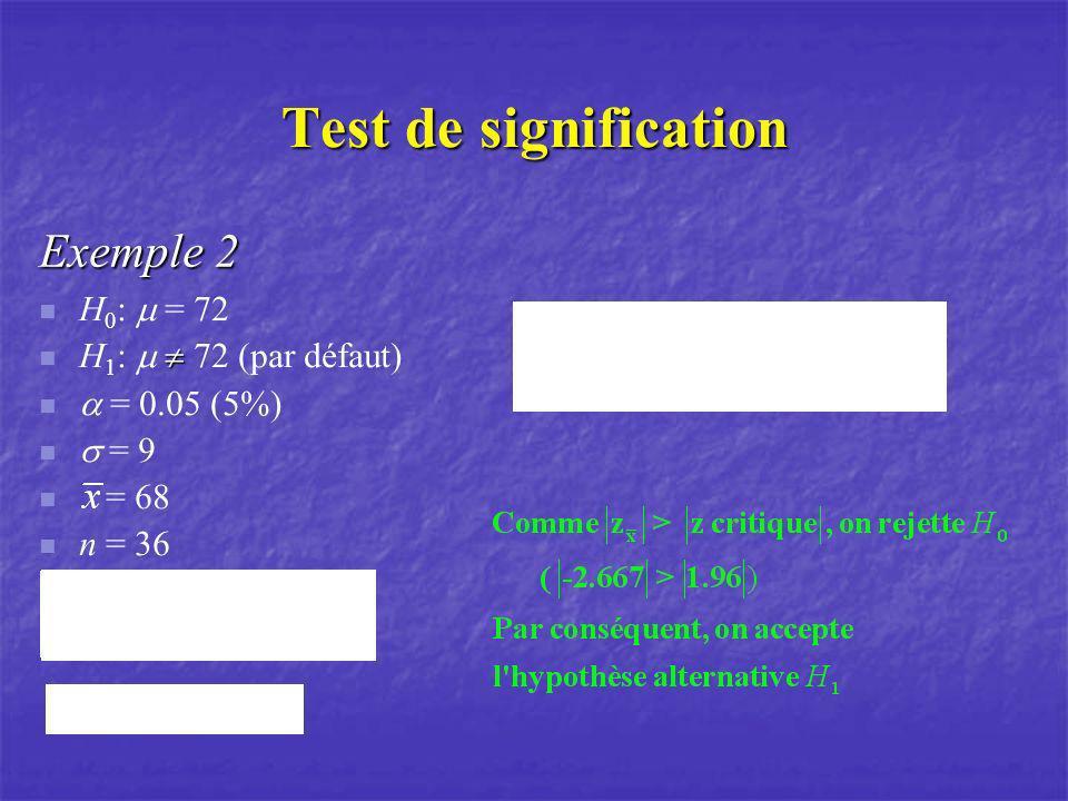 Test de signification Exemple 2 H0: m = 72 H1: m  72 (par défaut)