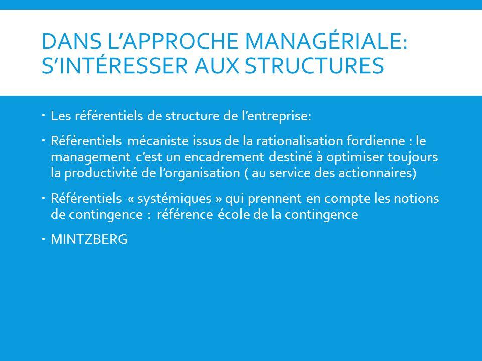 DANS L'APPROCHE MANAGÉRIALE: S'INTÉRESSER AUX STRUCTURES