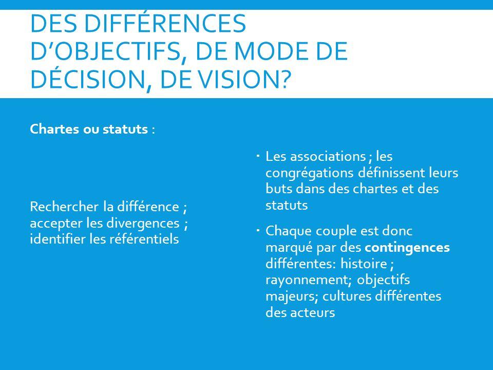 DES DIFFÉRENCES D'OBJECTIFS, DE MODE DE DÉCISION, DE VISION