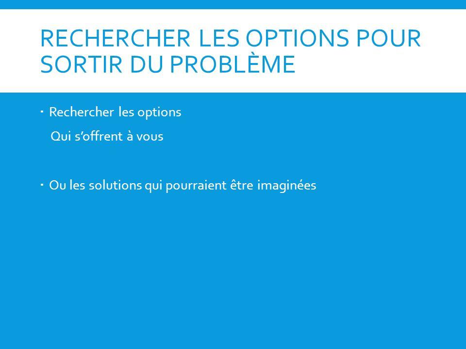 RECHERCHER LES OPTIONS POUR SORTIR DU PROBLÈME
