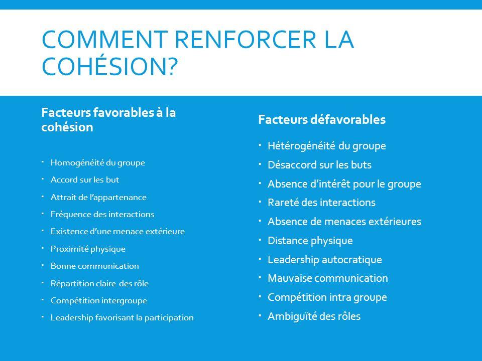 COMMENT RENFORCER LA COHÉSION