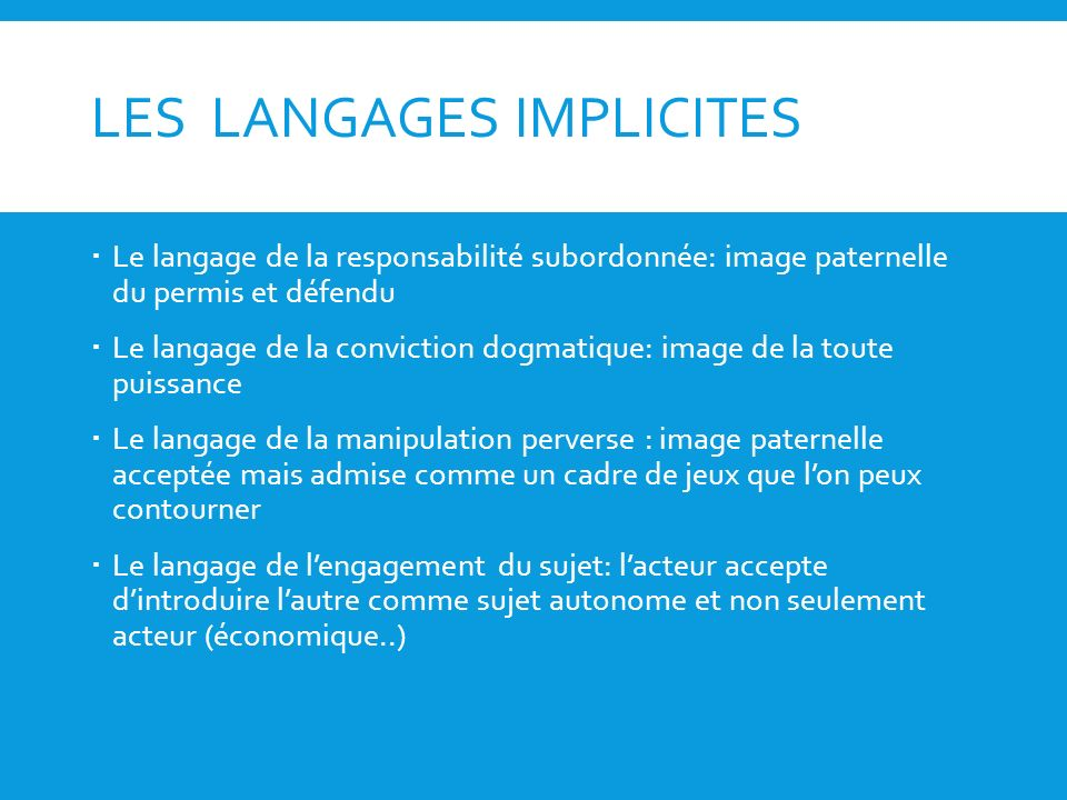 LES LANGAGES IMPLICITES