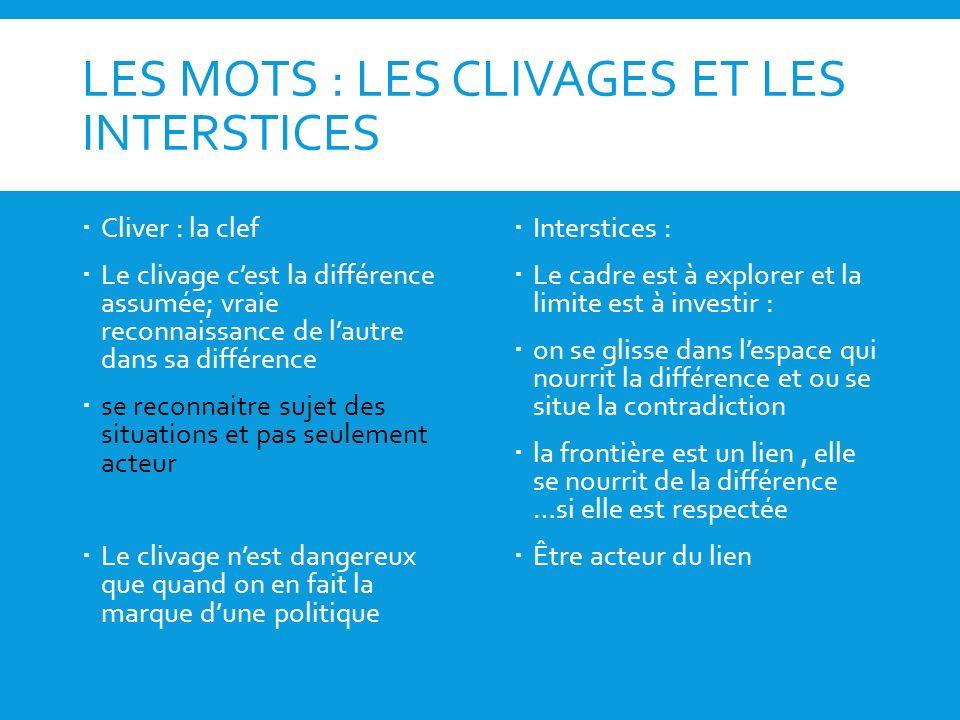 LES MOTS : LES CLIVAGES ET LES INTERSTICES