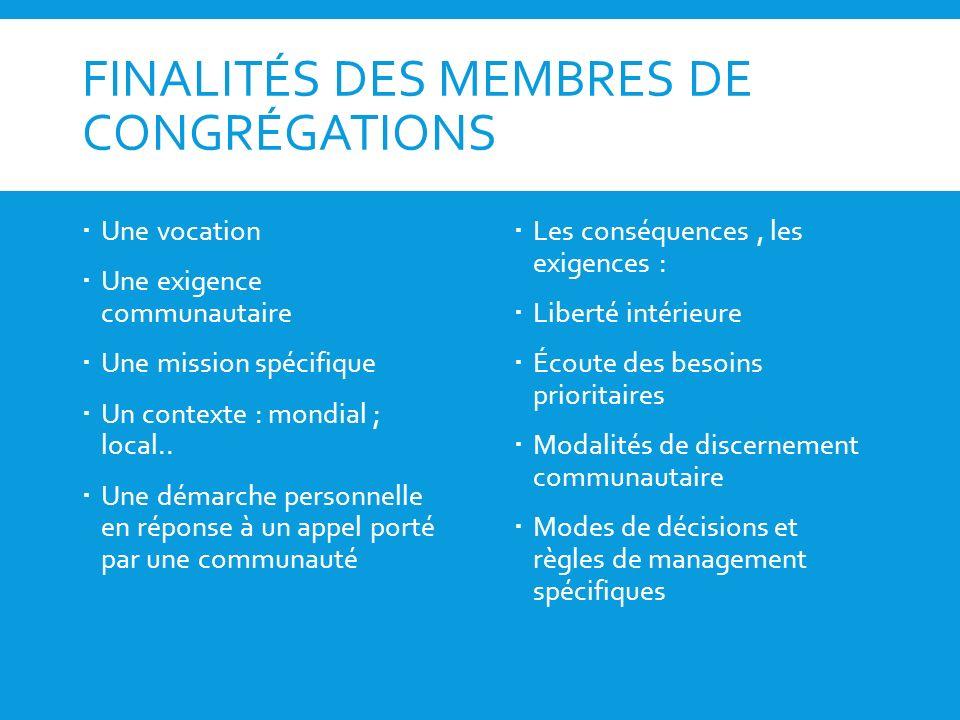 FINALITÉS DES MEMBRES DE CONGRÉGATIONS